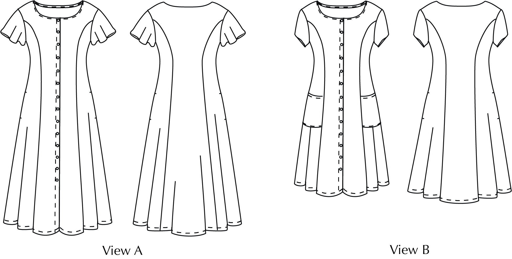 Princess Seamed Dress line drawings
